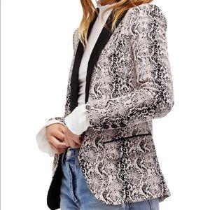 Free People Modern 1 Button Blazer Jacket Beige